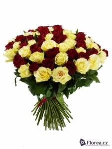100 růží - kytice - různé barvy