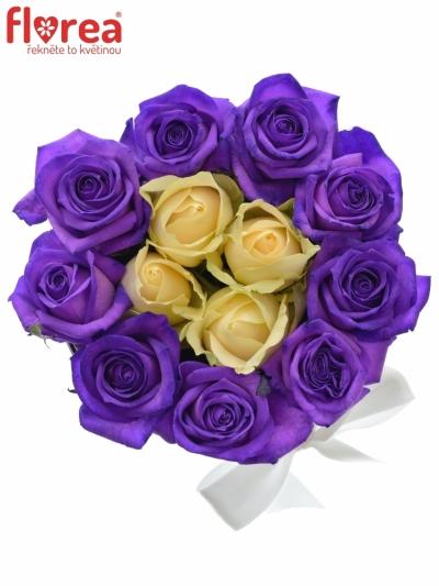 Květinová krabička - žluté a fialové růže v dárkové krabičce - dárek sv. Valentýn